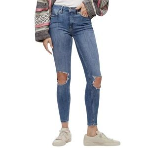 Free People Mid Rise Skinny Ripped Knees